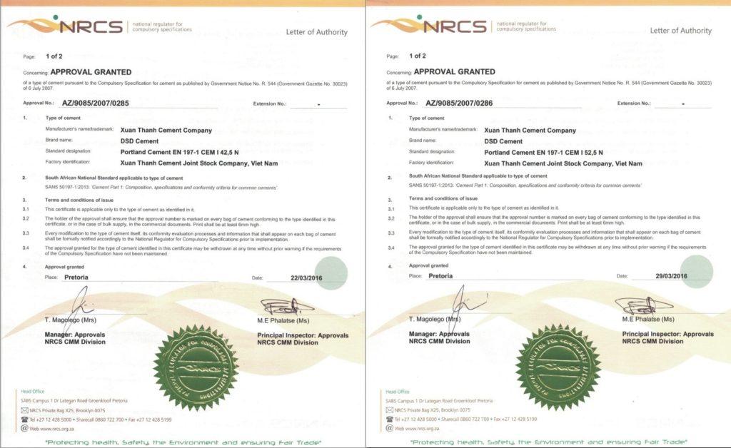 Chứng thư do NRCS Cộng Hòa Nam Phi cấp cho Xi Măng Xuân Thành