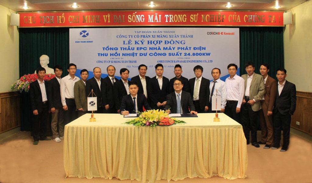 Lễ ký kết hợp đồng tổng thầu EPC dự án phát điện thu hồi nhiệt dư công suất 24.800 kW Xi măng Xuân Thành, Hà Nam